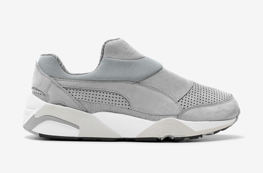 Stampd x Puma Trinomic Sock — dámské a pánské boty bez tkaniček, tmavě šedé, futuristické tenisky, moderní sneakers