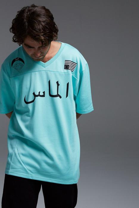 Black Scale x Diamond Supply Co. — dlouhé tyrkysové tričko, krátký rukáv