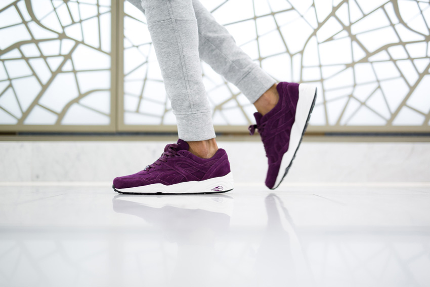 Puma Trinomic R698 — fialové boty, semišové, pánské, dámské, tenisky, sneakers