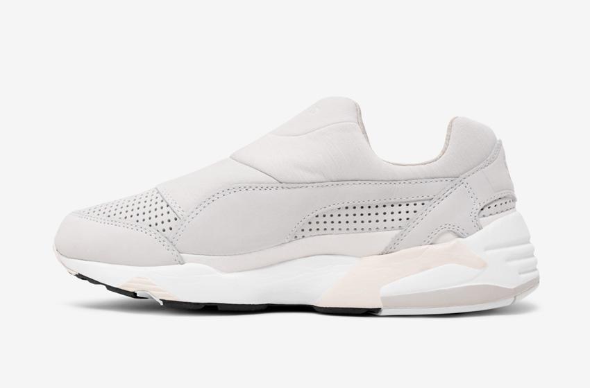 Stampd x Puma Trinomic Sock — dámské a pánské boty, šedé, moderní tenisky bez tkaniček, futuristické sneakers