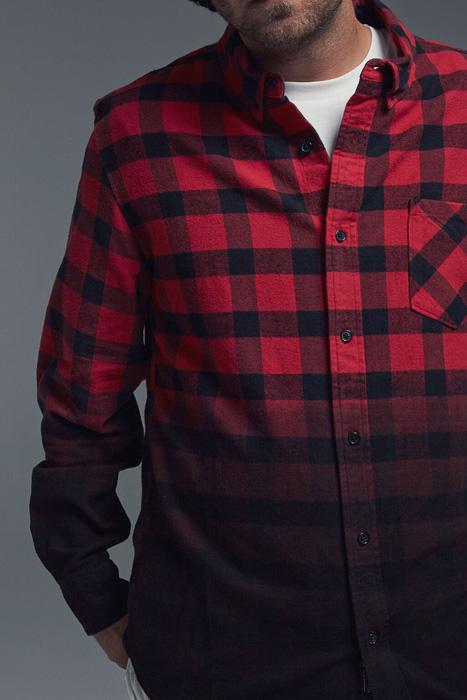 Black Scale x Diamond Supply Co. — kostkovaná flanelová košile, červeno-černá, bavlněná košile, dlouhý rukáv