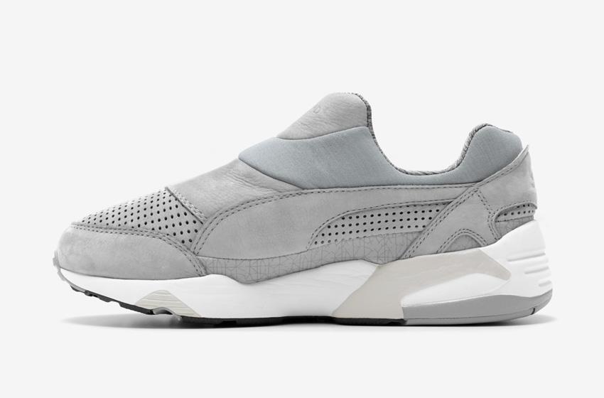 Stampd x Puma Trinomic Sock — dámské a pánské boty, tmavě šedé, moderní tenisky bez tkaniček, futuristické sneakers