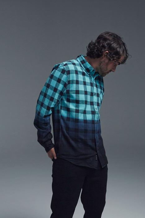 Black Scale x Diamond Supply Co. — kostkovaná flanelová košile, modro-černá, bavlněná košile, dlouhý rukáv