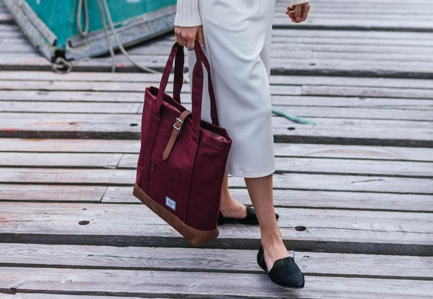 Herschel Supply — dámská nákupní taška, plátěná, červená — Market Tote — podzim 2015 — lookbook
