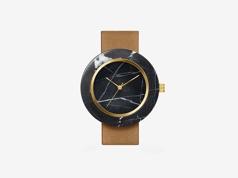 Analog Watch Co. — černé mramorové hodinky, kulaté pouzdro, hnědý kožený náramek — marble watches