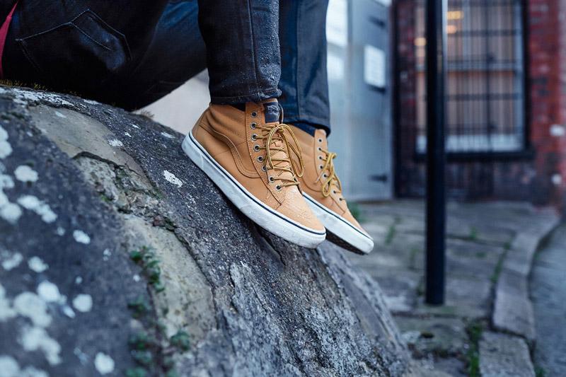 Vans — Mountain Edition — kotníkové boty SK8-Hi MTE, podzimní/zimní, světle hnědé — dámské, pánské