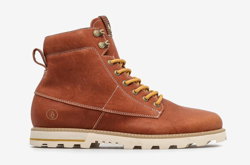 Volcom Smithington — vysoké pánské zimní boty, kožené, hnědé, winter boots