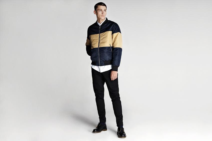 Daily Paper — pánský bomber béžovo-modrý, bunda do pasu, černé slim kalhoty — podzimní oblečení — 2015