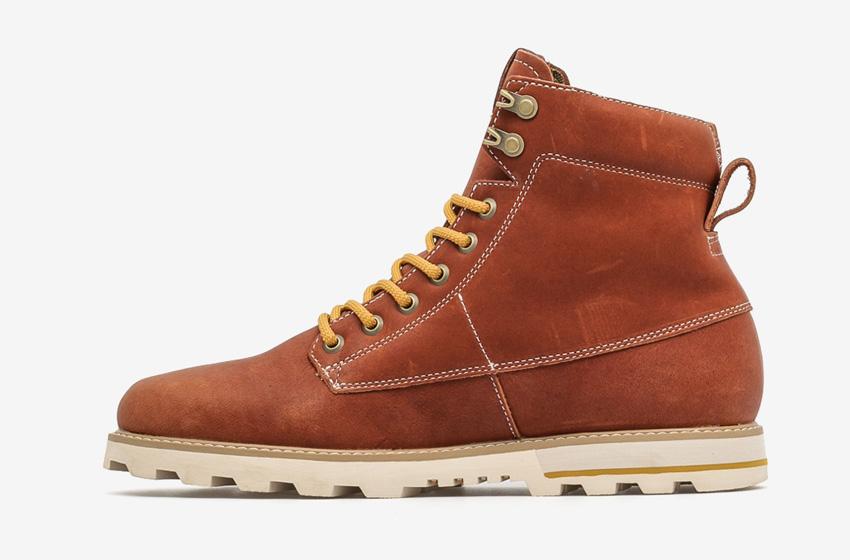 Volcom Smithington — pánské zimní boty z kůže, vysoké, hnědé, winter boots