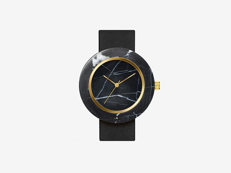 Analog Watch Co. — černé mramorové hodinky, kulaté pouzdro, černý kožený náramek — marble watches