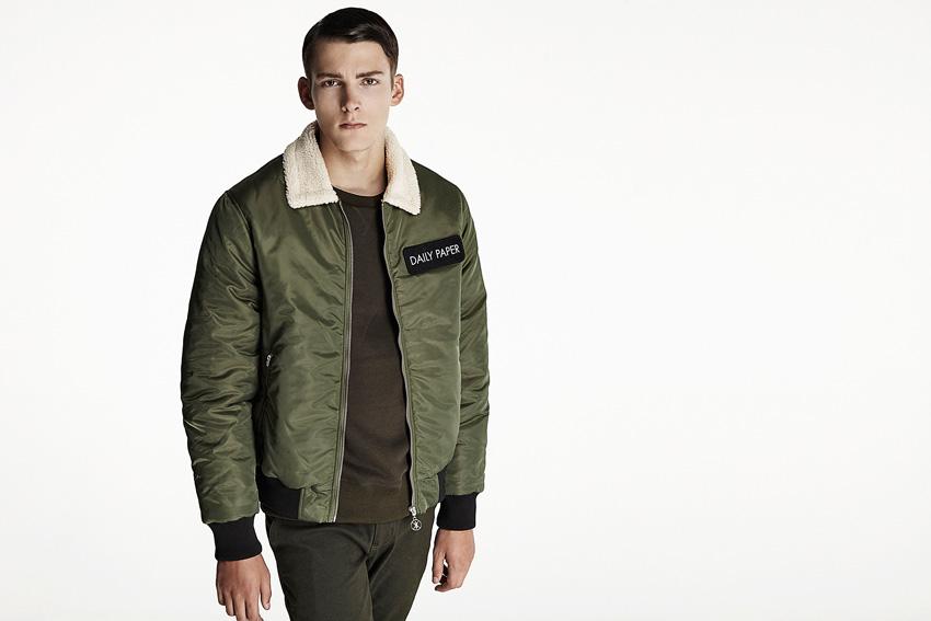 Daily Paper — pánský zelený army bomber s kožešinovým límcem — podzimní oblečení — 2015
