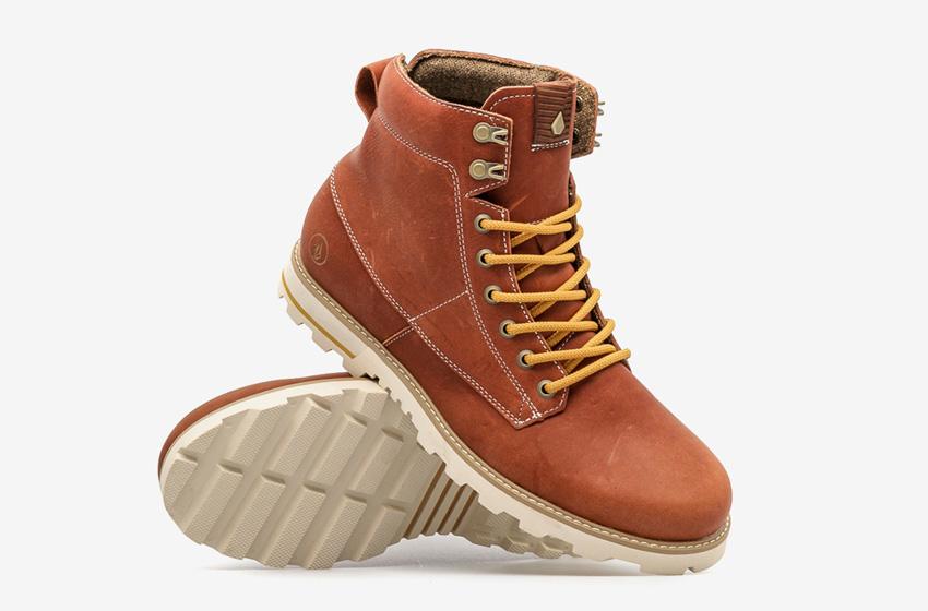 Volcom Smithington — hnědé pánské zimní boty, kožené, vysoké, winter boots