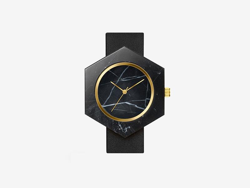 Analog Watch Co. — černé mramorové hodinky, šestiúhelníkové pouzdro, černý kožený náramek — marble watches