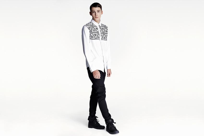 Daily Paper — pánská bílá košile s černým motivem, černé kalhoty slim — podzimní oblečení — 2015