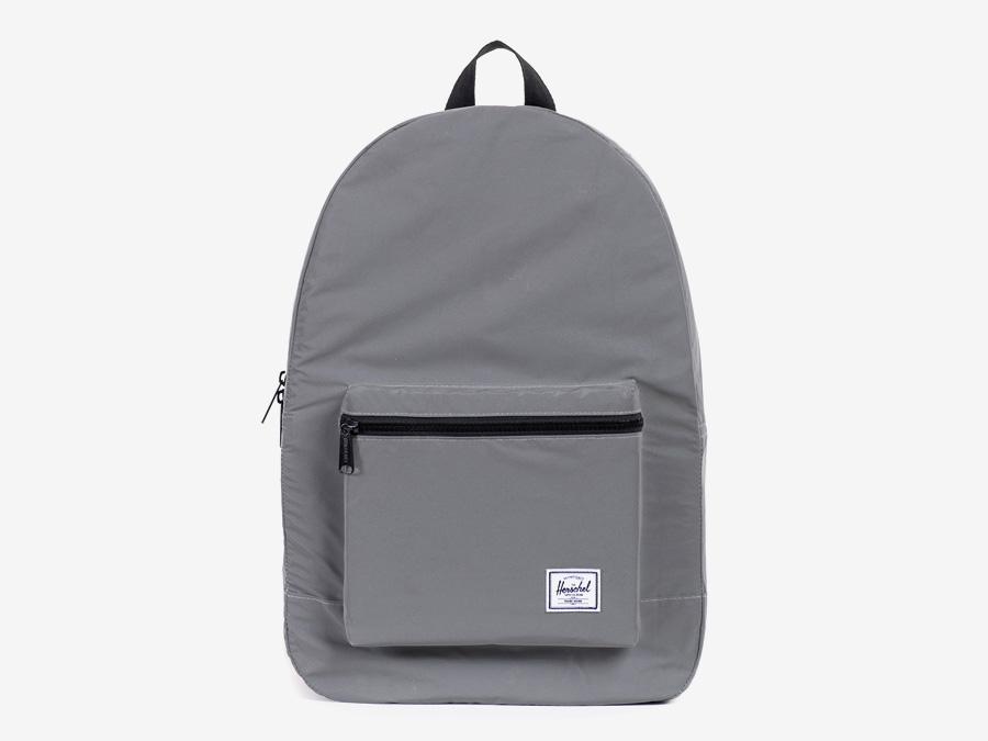 Herschel Supply — skládací batoh, reflexní, šedý, stříbrný — Day/Night — Packable Daypack