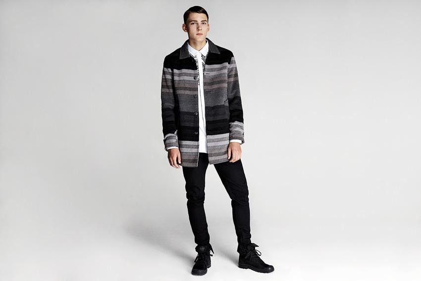 Daily Paper — pánská podzimní proužkovaná bunda, černé slim kalhoty — podzimní oblečení — 2015