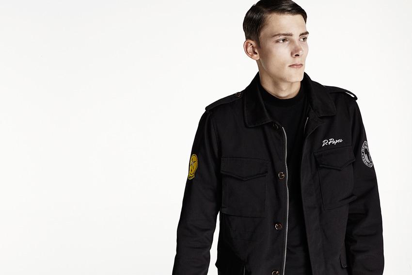 Daily Paper — pánská černá bunda bez kapuce, army styl — podzimní oblečení — 2015