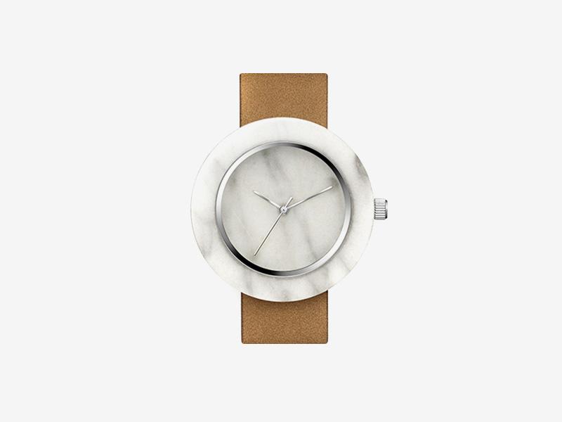 Analog Watch Co. — bílé mramorové hodinky, kulaté pouzdro, hnědý kožený náramek — marble watches