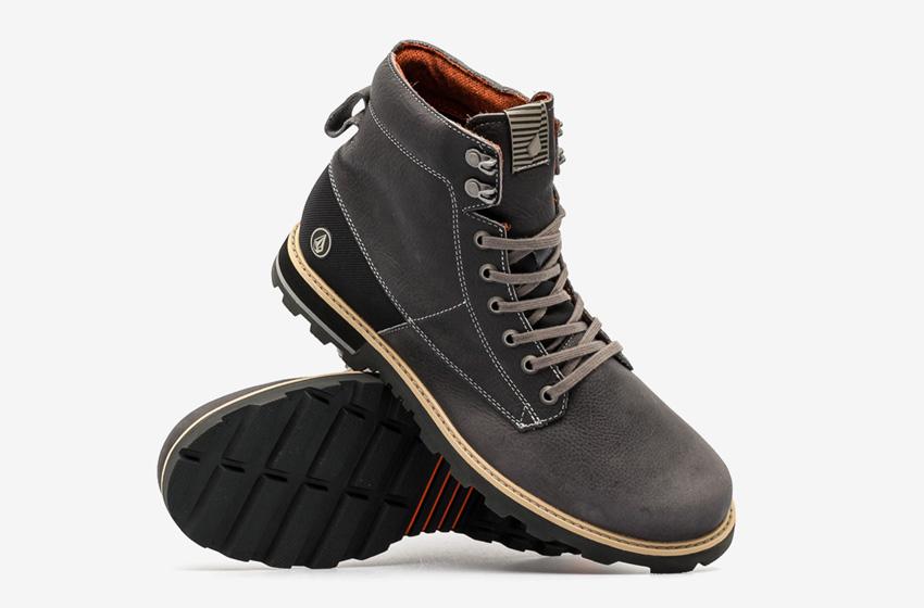 Volcom Smithington — černé pánské zimní boty, kožené, vysoké, winter boots