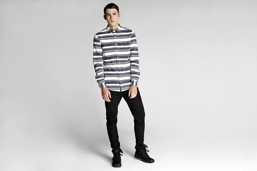 Daily Paper — pánská modro-bílá košile s pruhy, dlouhý rukáv — podzimní oblečení — 2015