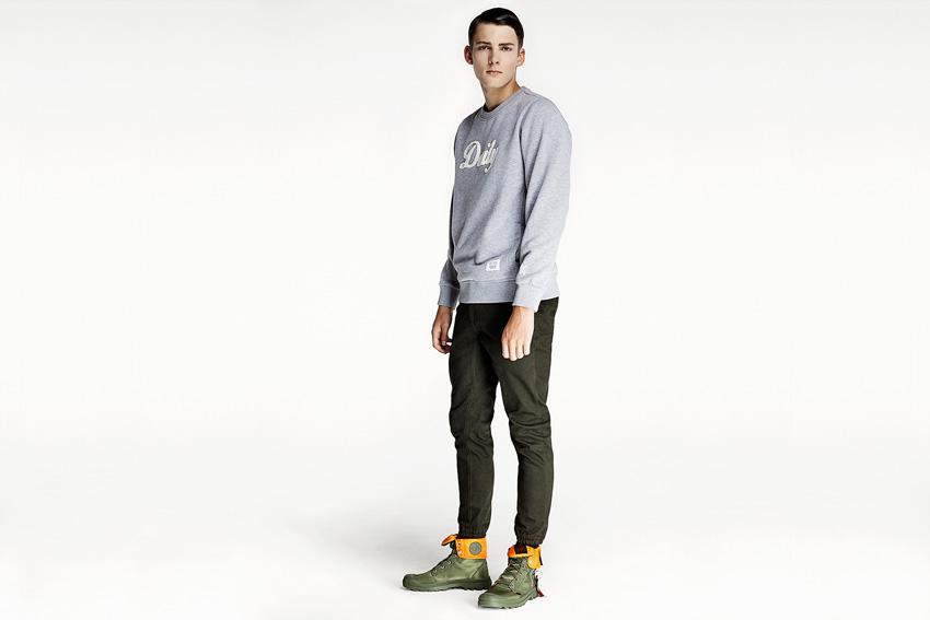 Daily Paper — pánská šedá mikina, joggers kalhoty s gumou v nohavicích — podzimní oblečení — 2015
