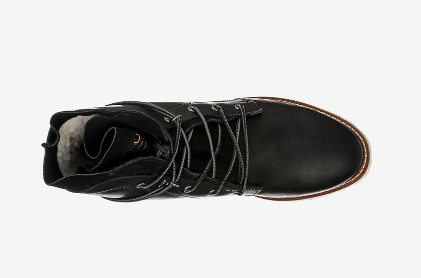 Hub Footwear — vysoké kotníkové pánské zimní boty, černé, kožené, winter boots