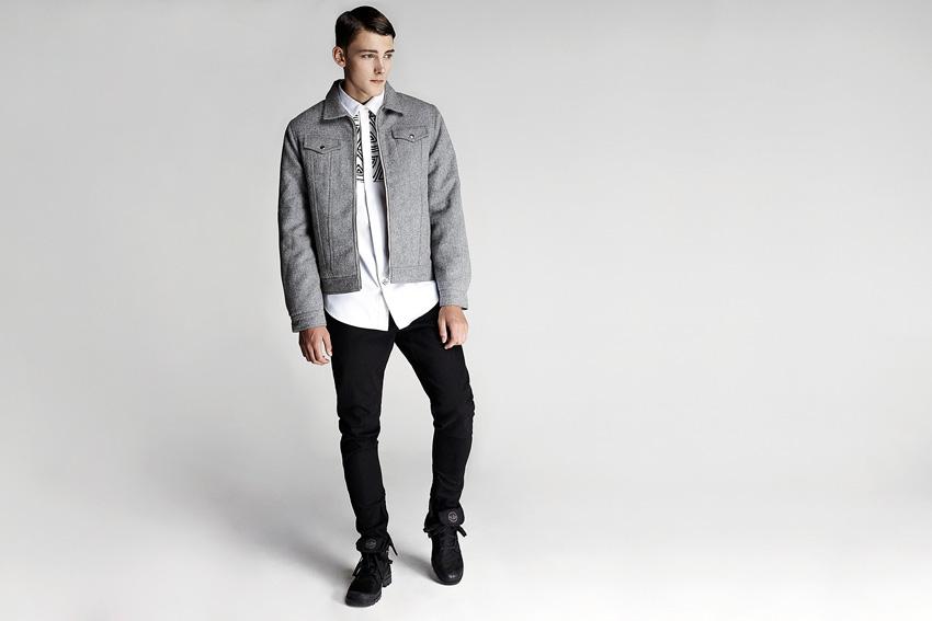 Daily Paper — pánská podzimní krátká bunda do pasu, černé kalhoty — podzimní oblečení — 2015