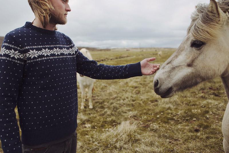 Olow — pánský modrý svetr, norský vzor — pánské oblečení — lookbook podzim/zima 2015