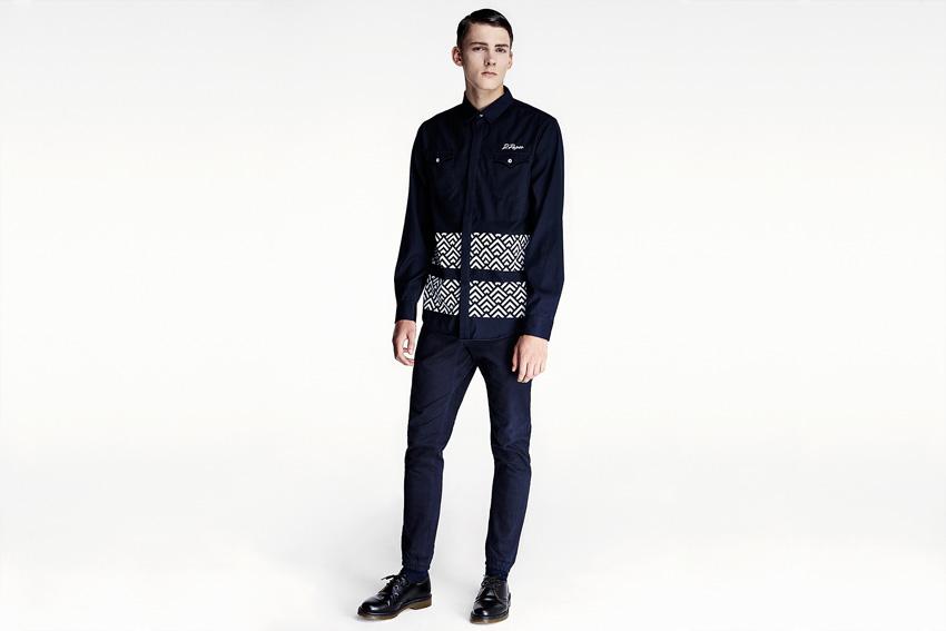 Daily Paper — pánská modrá blůza, dlouhý rukáv, bunda, modré kalhoty joggers — podzimní oblečení — 2015
