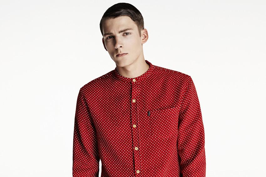 Daily Paper — pánská červená košile bez límečku s tečkami — podzimní oblečení — 2015