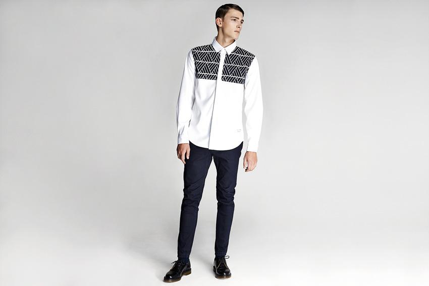 Daily Paper — pánská bílá košile, dlouhý rukáv, černý vzor — podzimní oblečení — 2015