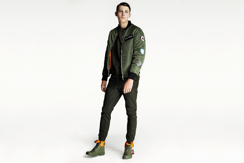 Daily Paper — pánský zelený army bomber, bunda do pasu, joggers kalhoty černé — podzimní oblečení — 2015