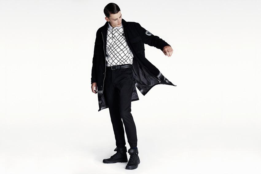 Daily Paper — černý dlouhý army kabát, černé kalhoty joggers — podzimní oblečení — 2015