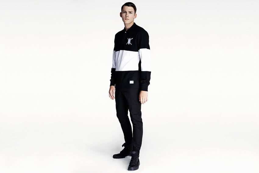 Daily Paper — černo-bílá pánská mikina, černé joggers kalhoty — podzimní oblečení — 2015