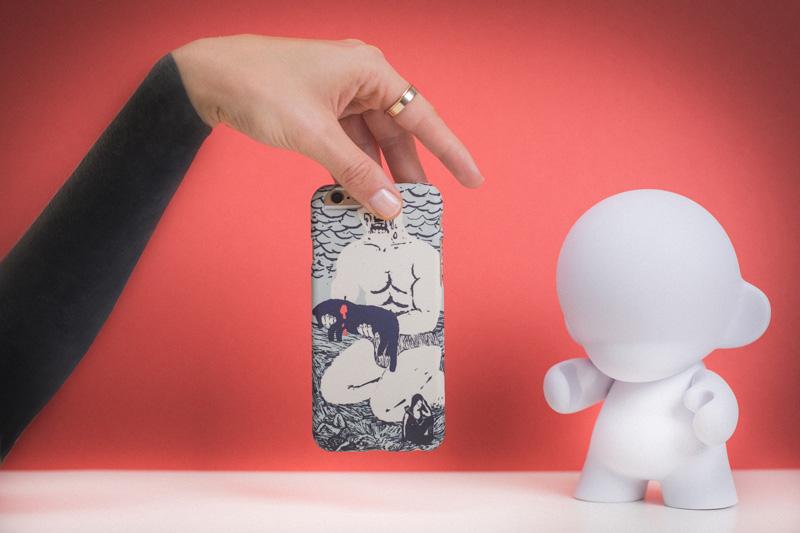 Retart — kryt na iPhone 4/4s, iPhone 5/5s, iPhone 6/6s — šedý kryt na mobil s ulistrací — iPhone case — Martin Lacko