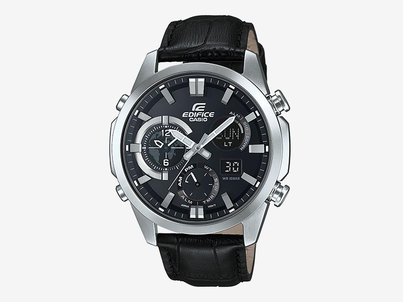 Casio Edifice ERA-500L-1A — pánské hodinky, náramkové, analogové, digitální, luxusní, černý kožený náramek, ocelové pouzdro