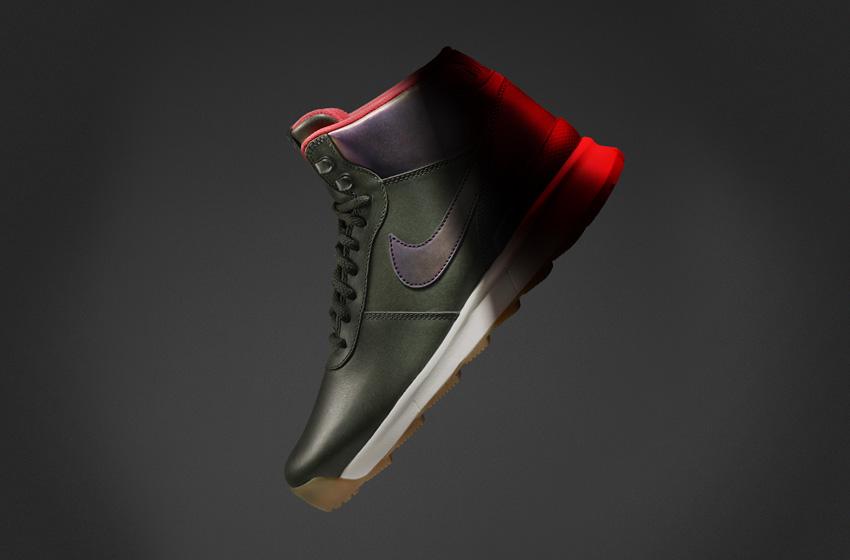Nike Acorra SneakerBoot — dámské zimní boty, vysoké kotníkové, tmavě zelené, kožené, s reflexními prvky