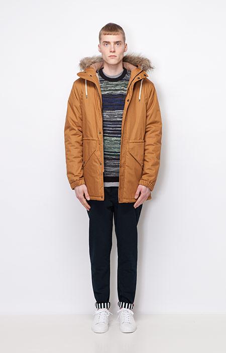 Ucon Acrobatics — pánská zimní bunda/parka s kapucí, hnědá — kalhoty, černé — pánské oblečení — podzim/zima 2015