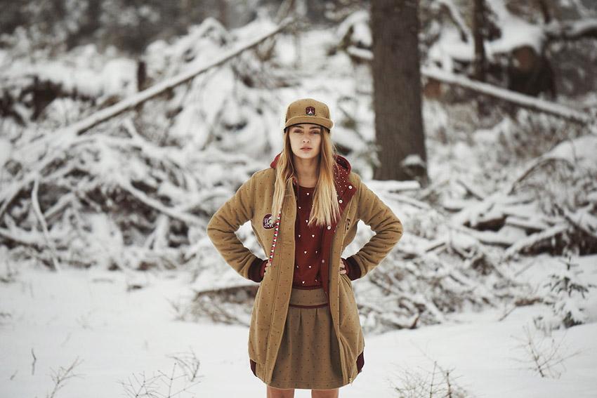 Femi Pleasure — hnědá zimní bunda s kapucí, dámská, dlouhá — dámské oblečení podzim/zima — fall/winter 2015