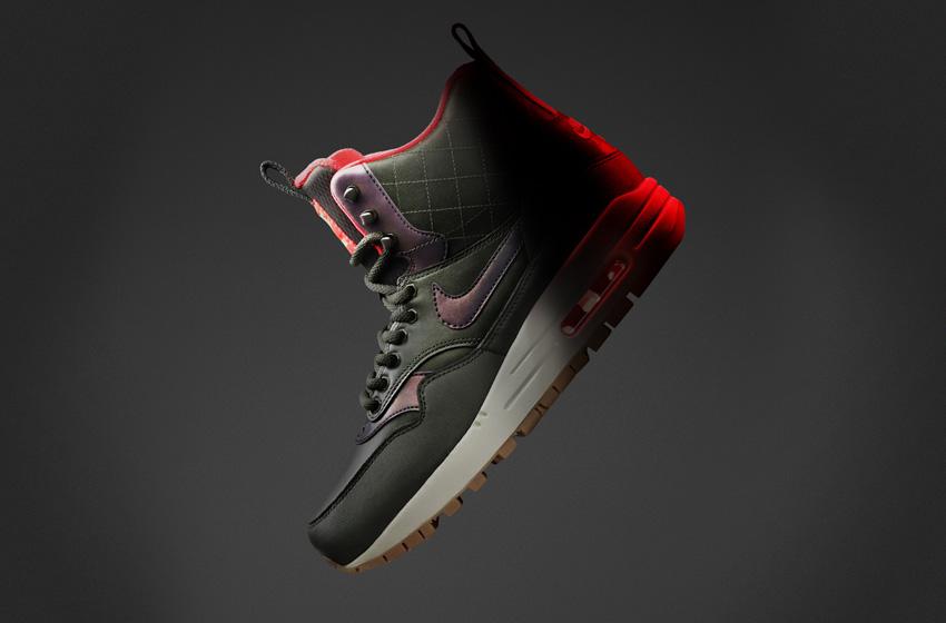 Nike Air Max 1 Mid SneakerBoot — dámské zimní boty, vysoké kotníkové, tmavě zelené, kožené, s reflexními prvky