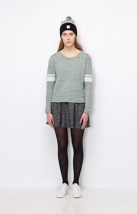 Ucon Acrobatics — zelený svetr, dámský — šedá podzimní/zimní sukně — dámské oblečení podzim/zima 2015