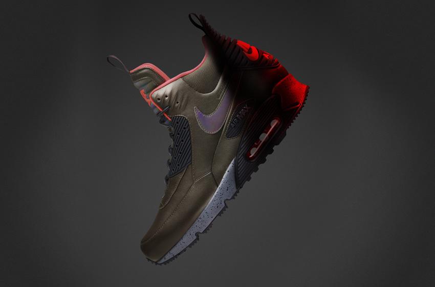 Nike Air Max 90 SneakerBoot — pánské zimní boty, vysoké kotníkové, tmavě zelené, kožené, s reflexními prvky