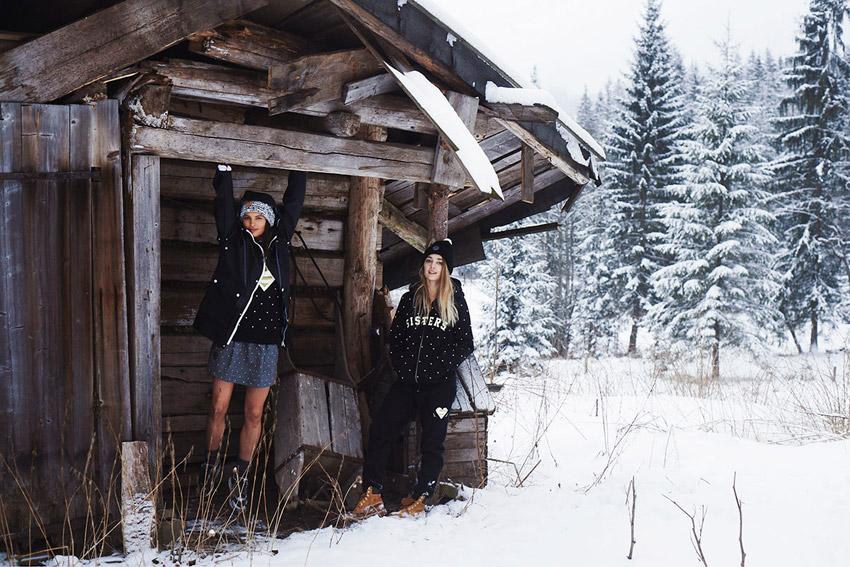 Femi Pleasure — černá mikina s kapucí, dámská tmavá bunda — dámské oblečení podzim/zima — fall/winter 2015