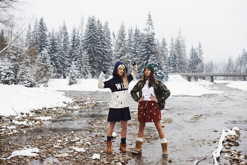 Femi Pleasure — dámská modro-bílá mikina s kapucí, maskáčová bunda — dámské oblečení podzim/zima — fall/winter 2015