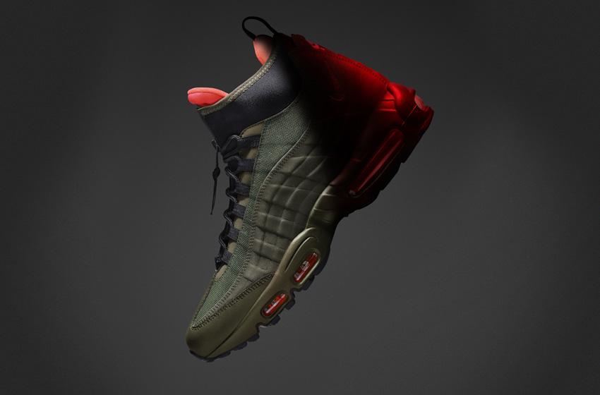 Nike Air Max 95 SneakerBoot — pánské zimní boty, vysoké kotníkové, tmavě zelené, neoprenové, s reflexními prvky