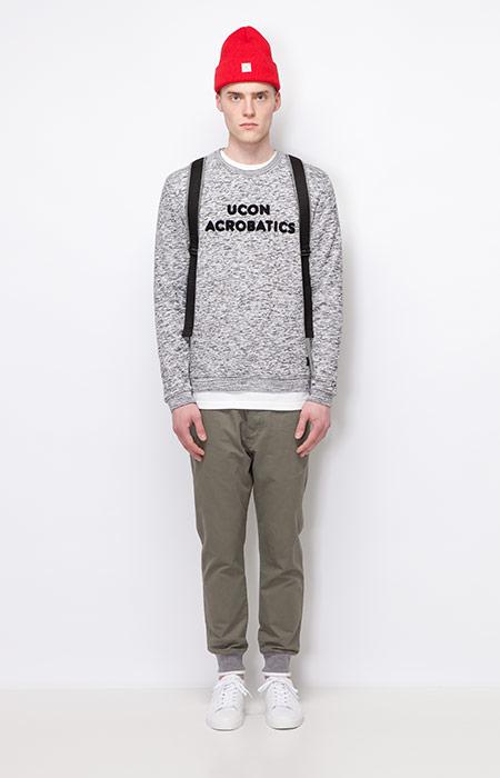 Ucon Acrobatics — pánská šedá mikina s melírem — olivové kalhoty joggers — pánské oblečení — podzim/zima 2015