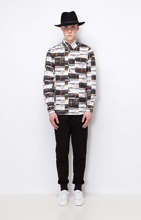 Ucon Acrobatics — pánská košile s dlouhým rukávem, vzorovaná — černé kalhoty joggers s úplety — pánské oblečení — podzim/zima 2015
