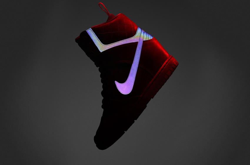 Nike Dunk Sky High 2.0 SneakerBoot — dámské zimní boty, vysoké kotníkové, tmavě zelené, kožené, s reflexními prvky
