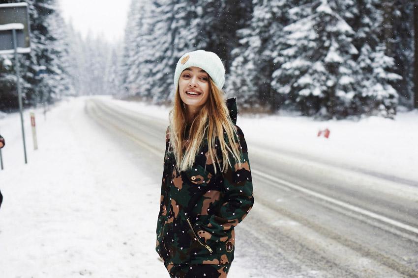 Femi Pleasure — maskáčová zimní bunda s kapucí, dámská — dámské oblečení podzim/zima — fall/winter 2015