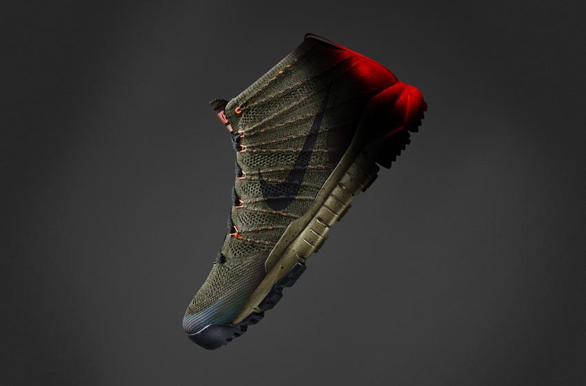 Nike Flyknit Trainer Chukka SneakerBoot — pánské zimní boty, kotníkové, tmavě zelené, vlněné, s reflexními prvky